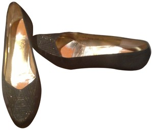 Salvatore Ferragamo Black with Gold Glittery Heel & Toe Accents Flats