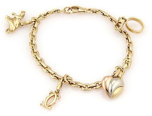 Cartier Estate,Cartier,18k,Yellow,Gold,Charm,Bracelet,With,4,Charms