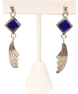 Other Lapis Lazuli Blue Gemstone Inlay 925 Silver Feather Dangle Earrings