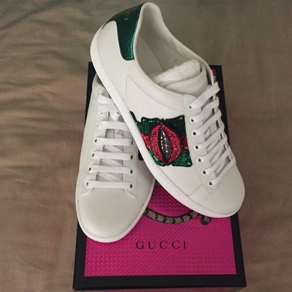 82f9300a586 Gucci White Ace Embroidered Sequin Crystal Lips 38 Sneakers Size US ...