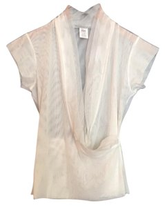 Marie Saint Pierre See-through V-neck Surplice Cropped T-shirt Top White