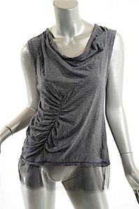 Vera Wang 100 Cotton Tank Wmesh Hemline Ruched Top Charcoal