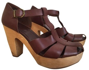 Madewell Wooden Heel Leather Brown Sandals
