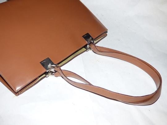 Salvatore Ferragamo Xl Satchel/Tote Perfect For Everyday Chrome Hardware Excellent Condition Satchel in chestnut brown leather with light green suede and Gancini accents Image 1