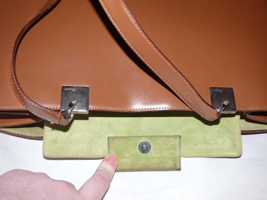 Salvatore Ferragamo Xl Satchel/Tote Perfect For Everyday Chrome Hardware Excellent Condition Satchel in chestnut brown leather with light green suede and Gancini accents Image 11