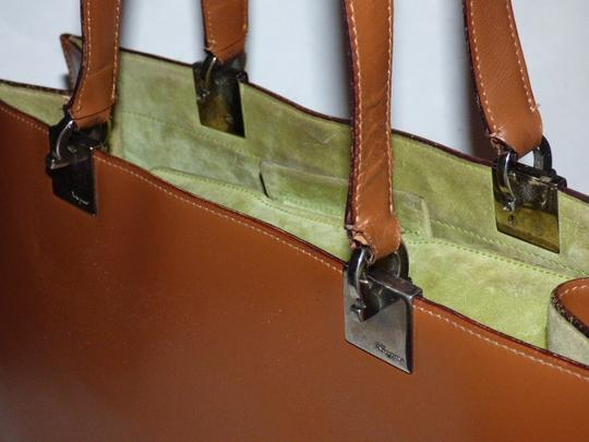 Salvatore Ferragamo Xl Satchel/Tote Perfect For Everyday Chrome Hardware Excellent Condition Satchel in chestnut brown leather with light green suede and Gancini accents Image 3