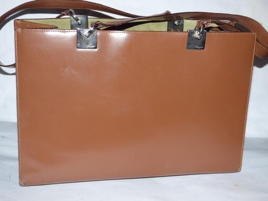Salvatore Ferragamo Xl Satchel/Tote Perfect For Everyday Chrome Hardware Excellent Condition Satchel in chestnut brown leather with light green suede and Gancini accents Image 4