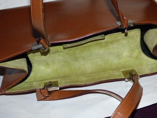 Salvatore Ferragamo Xl Satchel/Tote Perfect For Everyday Chrome Hardware Excellent Condition Satchel in chestnut brown leather with light green suede and Gancini accents Image 5