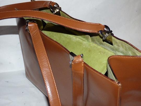 Salvatore Ferragamo Xl Satchel/Tote Perfect For Everyday Chrome Hardware Excellent Condition Satchel in chestnut brown leather with light green suede and Gancini accents Image 7