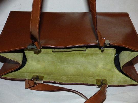 Salvatore Ferragamo Xl Satchel/Tote Perfect For Everyday Chrome Hardware Excellent Condition Satchel in chestnut brown leather with light green suede and Gancini accents Image 9
