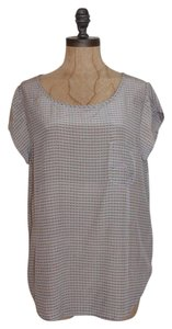 Joie Silk Printed Boxy Relaxed Fit Top Gray