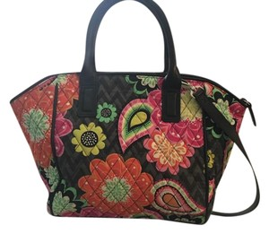Vera Bradley Ziggy Zinnia Fabric Satchel in Black w Brights