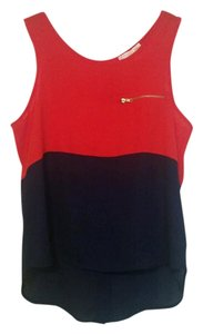 A'GACI Red Gold Accents Top Red, Navy Blue