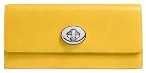 Coach New Turnlock Slim Envelope Canary Smooth Leather Wallet