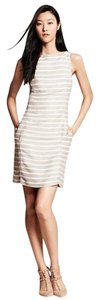 Banana Republic Sleeveless Striped Linen Cut-out Shift Dress