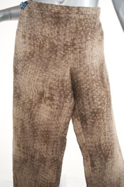 Giorgio Armani Taupebrowntan Basket Weave Print Linen Blend Relaxed Pants Beiges Image 1