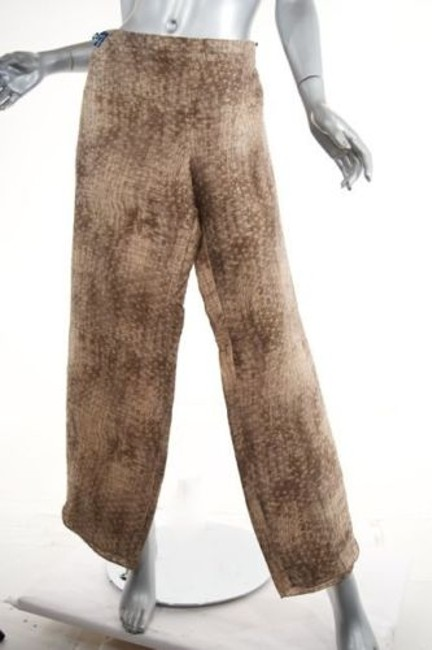 Giorgio Armani Taupebrowntan Basket Weave Print Linen Blend Relaxed Pants Beiges Image 2