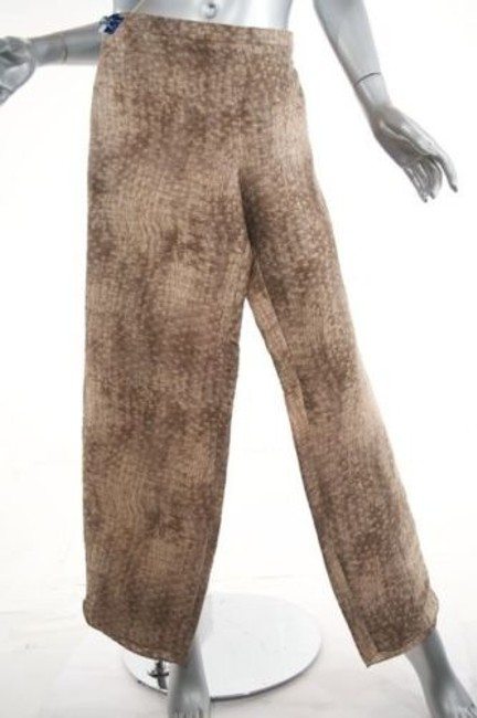 Giorgio Armani Taupebrowntan Basket Weave Print Linen Blend Relaxed Pants Beiges Image 3