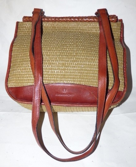 Etienne Aigner Great Everyday Rare Raffia/Leather Excellent Vintage High-end Bohemian Exterior Pocket Satchel in chestnut brown leather and natural woven raffia Image 11