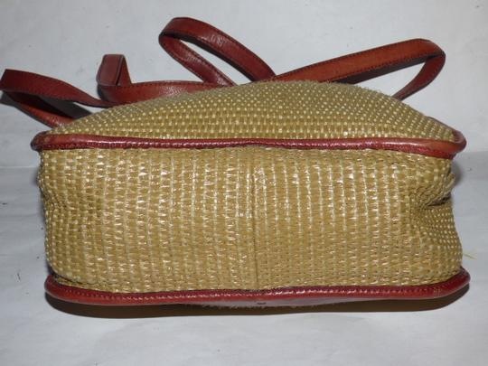 Etienne Aigner Great Everyday Rare Raffia/Leather Excellent Vintage High-end Bohemian Exterior Pocket Satchel in chestnut brown leather and natural woven raffia Image 5