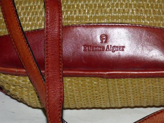 Etienne Aigner Great Everyday Rare Raffia/Leather Excellent Vintage High-end Bohemian Exterior Pocket Satchel in chestnut brown leather and natural woven raffia Image 7