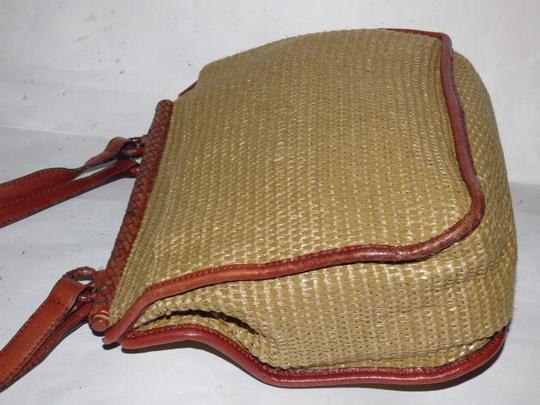 Etienne Aigner Great Everyday Rare Raffia/Leather Excellent Vintage High-end Bohemian Exterior Pocket Satchel in chestnut brown leather and natural woven raffia Image 8