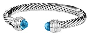 David Yurman Cable Classics Bracelet with Blue Topaz and Diamonds 7mm (Large)