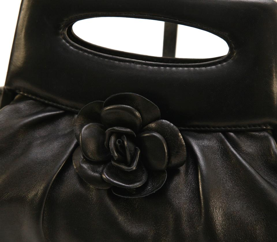 7819790a1e67f4 Chanel Vintage Camellia Tote Top Handle Black Lambskin Leather Clutch -  Tradesy