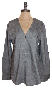 Theory Charcoal Linen Blend Button Down Shirt Gray