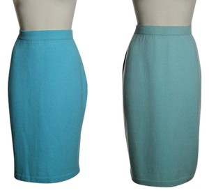St. John Stretch Knit Pull-on Skirt Blue