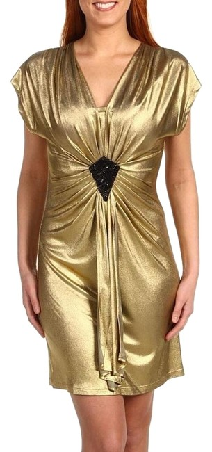 Item - Gold New Carrington Draped Sheath Above Knee Cocktail Dress Size 2 (XS)