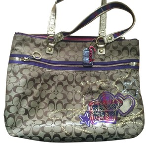 Coach Tote in Brown And Purple