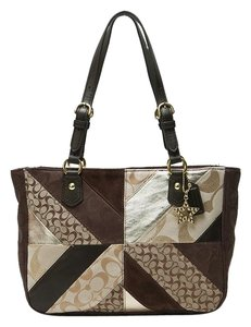 Coach Patchwork Tote in Brown Gold Beige