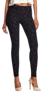 Xhilaration Flocked Burnout Jacquard Date Night Night Out Black Leggings
