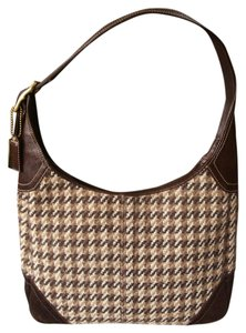 Coach Plaid Wool Houndstooth Hobo Bag