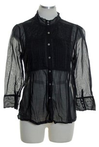Free People 3/4 Seeve Woven Lace Trim Button Down Shirt Back