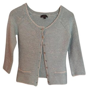 bebe Boucle Light Blue Stretch Preppy Retro Cardigan