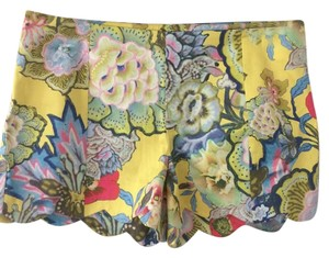 Cynthia Rowley Scalloped Floral Mini/Short Shorts yellow