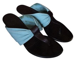 Salvatore Ferragamo Turquoise, Dark Brown Sandals