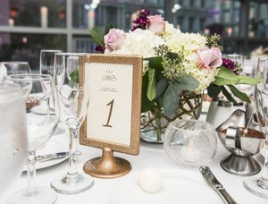 28 Gold Hammered Table Numbers/photo Frames