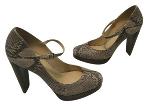 Cole Haan Ankle Strap Pattern Padded Insoles Nikeair Comfort Brown/Black embossed leather snake platform Pumps