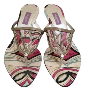 Emilio Pucci Floral Print Fuxia and silver Sandals