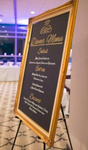Antique Gold Wedding Chalkboard Menu
