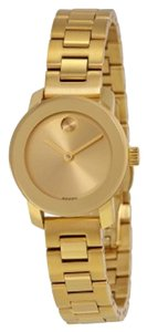 Movado Gold Sunray Dial Stainless Steel Designer Ladies Dress Watch