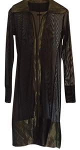Marie Saint Pierre See-through Sheer Cover-up Holographic Futuristic Top Black