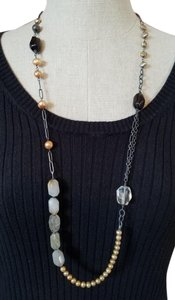 Silpada Silpada N1421 Retired Oxidized Sterling, Pearl, Smoky Quartz Necklace