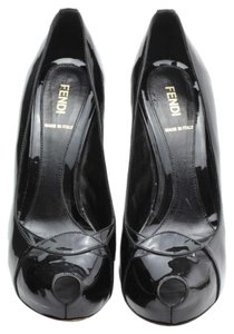 Fendi Vintage Panel Peep Toe Black Pumps