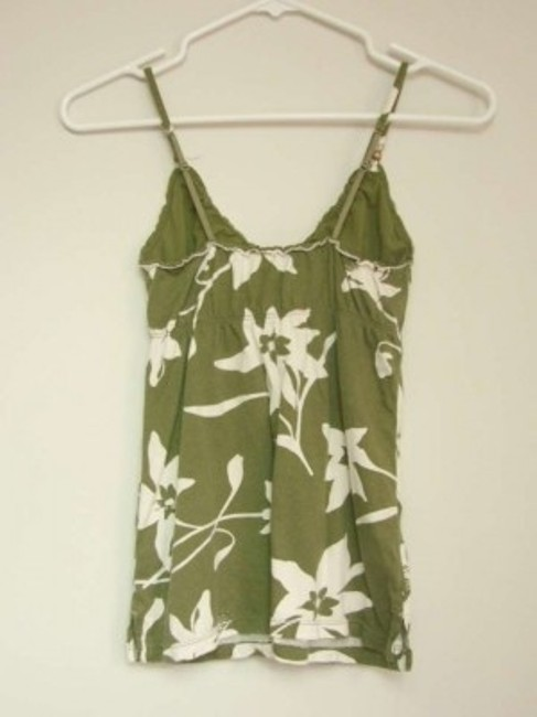 American Eagle Outfitters Top Olive Green & White Floral