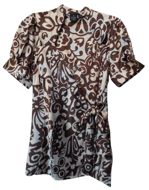 Preload https://img-static.tradesy.com/item/18533527/bcbgmaxazria-brown-and-off-white-new-silky-dressy-bcbg-blouse-size-8-m-0-4-650-650.jpg