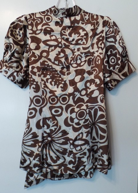 BCBGMAXAZRIA Bcbg Medium Silky Wrap New Top Brown & off-white Image 3